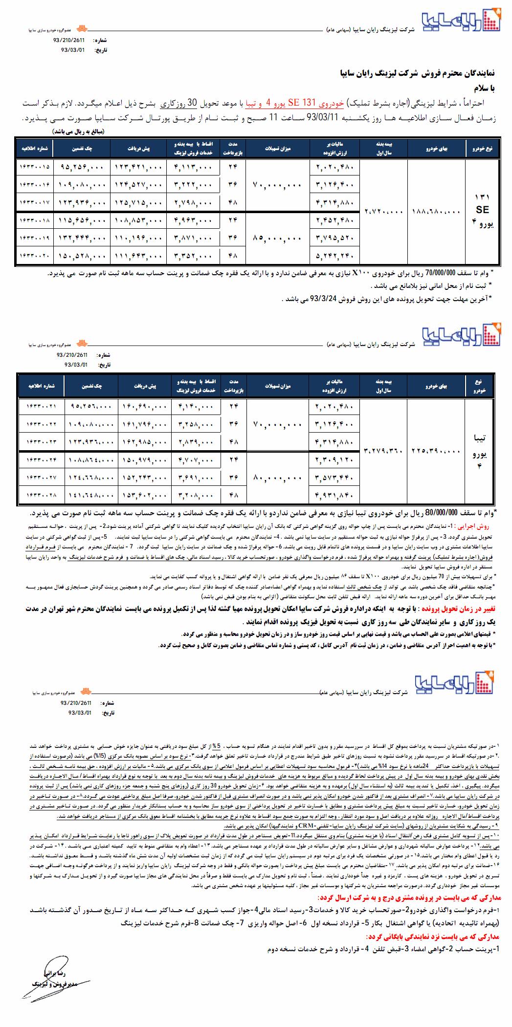 شرایط فروش لیزینگی تیبا SX و سایپا 131 SE